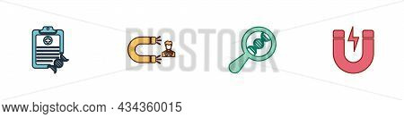 Set Clipboard With Dna Analysis, Customer Attracting, Research, Search And Magnet Lightning Icon. Ve