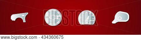 Set Car Fender, Steering Wheel, Speedometer And Mirror Icon. Vector