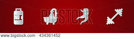 Set Collagen Serum, Bathtub, Ginger Root And Dumbbell Icon. Vector