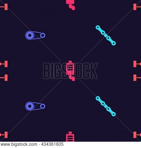 Set Car Chain, Timing Belt Kit, Muffler And Chassis Car On Seamless Pattern. Vector