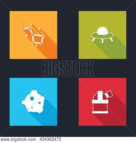 Set Great Bear Constellation, Ufo Flying Spaceship, Asteroid And Astronomical Observatory Icon. Vect
