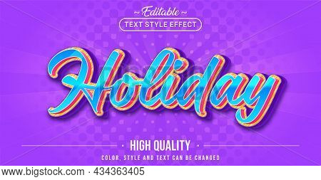 Editable Text Style Effect - Holiday Text Style Theme. Graphic Design Element.