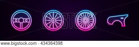 Set Line Steering Wheel, Car, And Fender. Glowing Neon Icon. Vector
