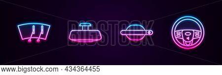 Set Line Windscreen Wiper, Car Mirror, Door Handle And Steering Wheel. Glowing Neon Icon. Vector