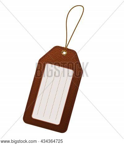 Brown Leather Luggage Tag Label With Strap. Travel Identification Card. Vector Illustration Isolated