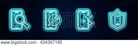 Set Line Phone Repair Service, Mobile, Glass Screen Protector And With Shield. Glowing Neon Icon. Ve