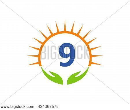 Charity Logo With Hand, Sun And 9 Letter Concept. Donation Organization Logotype On Letter 9 Concept