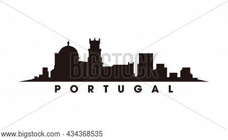 Lisbon Portugal Skyline And Landmarks Silhouette Vector