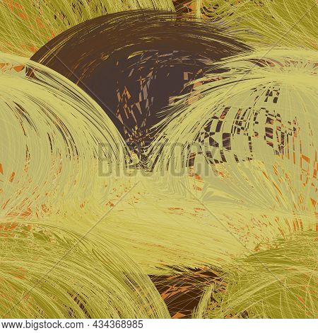 Seamless Pattern With Grunge Tangled Rough Arc Clews In Green, Broun, Yellow, Beige Colors For Web D