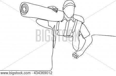 Deliveryman Male Carrier With A Large Carpet On His Shoulder. Vector Illustration