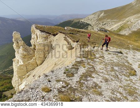 Passo Cattivo, Italy - September 25, 2021: Panoramic View Of Landslide Caused By Earthquake Of 2016,