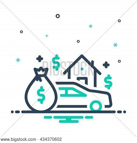 Mix Icon For Asset Heirloom Patrimony Expenditure Money Budget Finance  House Money-wage Car
