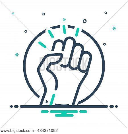 Mix Icon For Revolution Putsch Protest Human Power Rebellion Punch Socialism Struggle Extremism Radi