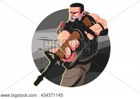 Man From Special Forces Vector Illustration. Guy In Army Combat Uniform With Weapon Flat Style. Male