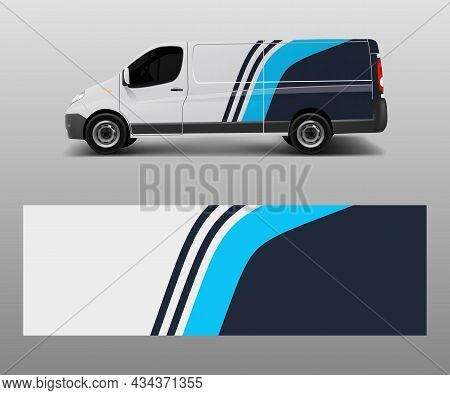 Van Wrap Design Template Vector With Wave Shapes, Decal, Wrap, And Sticker Template Vector
