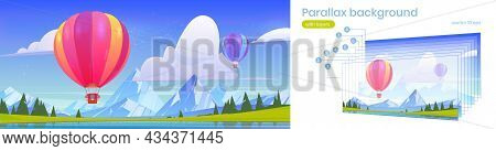 Parallax Background Hot Air Balloons Flying In Blue Sky Above Mountains Valley With Pond And Field.