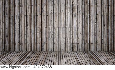 Concept or conceptual vintage or grungy gray background of natural wood or wooden old texture floor and wall as a retro pattern layout. A 3d illustration metaphor to time, material, emptiness or age