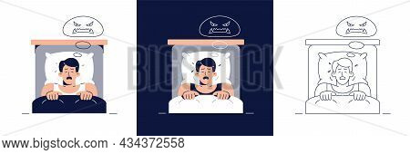 Nightmare Disorder Vector Illustration Set. Frightened Man Character Has A Bad Dream, Is Scared Of M