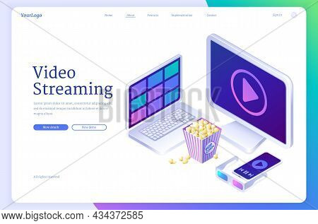 Video Streaming Banner. Online Service With Live Stream Media, Cinema Or Tv. Vector Landing Page Wit