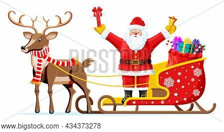 Christmas Santa Claus On Sleigh Full Of Gifts And His Reindeer. Happy New Year Decoration. Merry Chr
