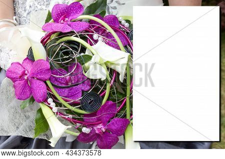 Mock-up With Bride Bouquet Flower In Flat Lay Top View For Wedding Invitation Background Mock Up