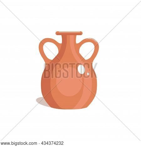 Clay Old Pitcher. Brown Vase, Flat Style. Jug Isolated On White Background. Vector Illustration.