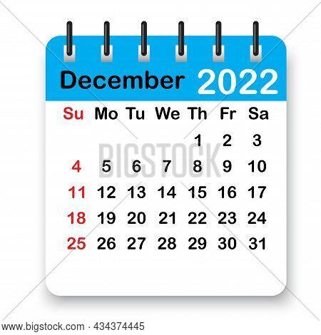 December Spiral Calendar Page Icon. Blue Leaf. Winter 2022. Organizing Background. Vector Illustrati
