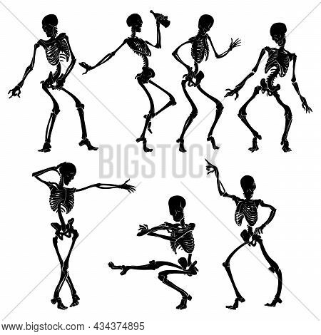 Silhouettes Of Dancing Skeletons. Halloween Character Design. Black And White Line Drawing Isolated