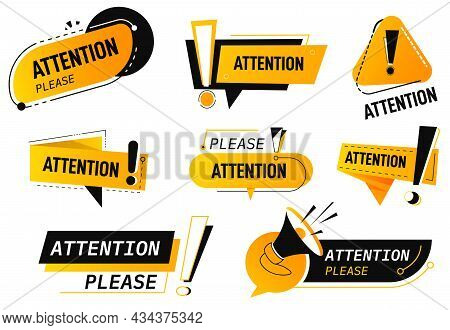 Attention Banners And Symbols, Danger And Caution