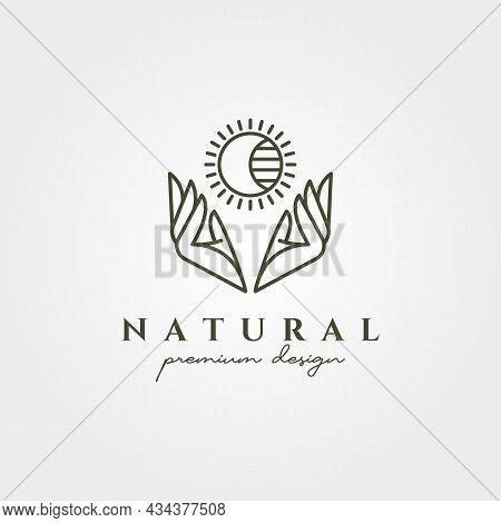 Hand And Sun Beautiful Bohermian Logo Vector Line Art Symbol Illustration Design, Beauty Product Min