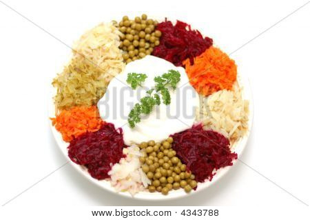 Holiday Vegetable Salad On White Background