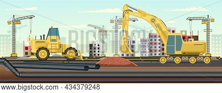 Industrial Pipeline Laying. Construction Of New Quarters. Excavation And Laying Of Underground Pipes