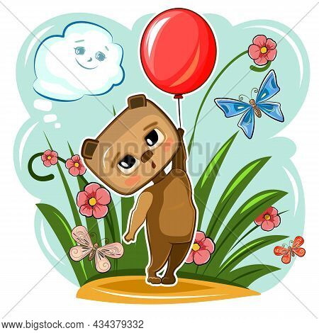 Funny Cute Bear Takes Off With A Red Balloon. Summer Meadow With Flowers And Butterflies. Funny Baby
