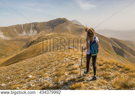 Montefortino, Italy - September 25, 2021: Panoramic View Of The Peak Of Passo Cattivo Famous For Bea