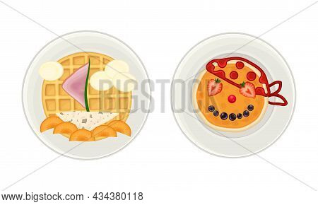 Creative Pancakes And Waffles Served On Plates Set. Serving Ideas For Healthy Breakfast For Kids Car