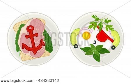 Creative Meal Dishes For Kids Served On Plates Set. Serving Ideas For Healthy Breakfast. Sandwich An