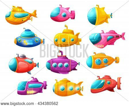 Cartoon Isolated Underwater Sea Submarines With Periscope. Vector Deep-sea Subs For Water Transporta
