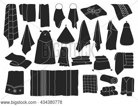 Kitchen Towel Vector Black Set Icon. Vector Illustration Textile Roll On White Background. Isolated