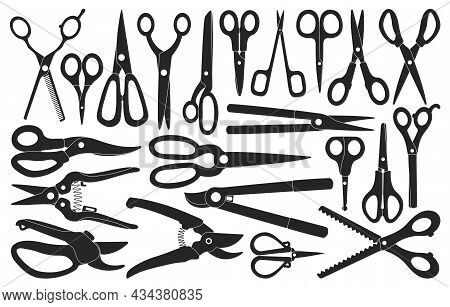 Scissors Vector Black Set Icon. Vector Illustration Scissor Equipment On White Background. Isolated