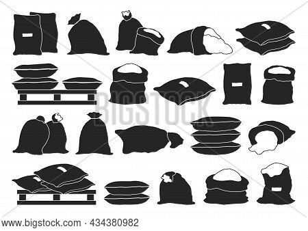 Farmer Bag Vector Illustration On White Background. Isolated Black Set Icon Grain Sack .vector Black