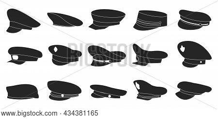 Military Cap Vector Black Set Icon. Vector Illustration Headgear On White Background. Isolated Black