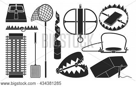 Trap For Animal Vector Illustration On White Background . Metal Pitfall Isolated Black Set Icon. Vec