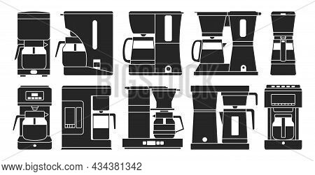 Coffee Maker Black Set Icon. Isolated Black Set Icon Machine For Cafe. Vector Illustration Coffee Ma
