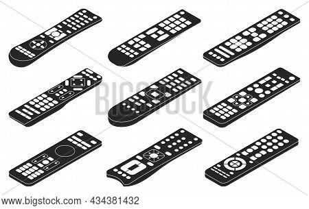Remote Vector Black Set Icon. Isolated Black Set Icon Control Tv. Vector Illustration Remote On Whit