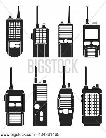 Walkie Talkie Vector Black Icon. Isolated Black Set Icon Transceiver.vector Illustration Walkie Talk