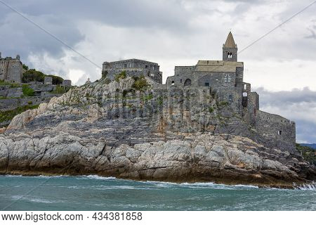 Medieval Church Of St. Peter, View From The Sea,  Portovenere, Cinque Terre; Italy