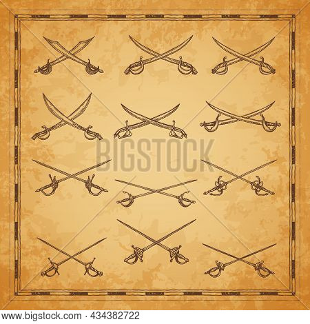 Crossed Pirate Sabers, Swords And Epees Sketch, Vector Ancient Map Elements. Pirate Buccaneer Or Cor