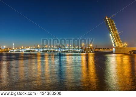 Neva river and open Troitsky Bridge - St. Petersburg Russia