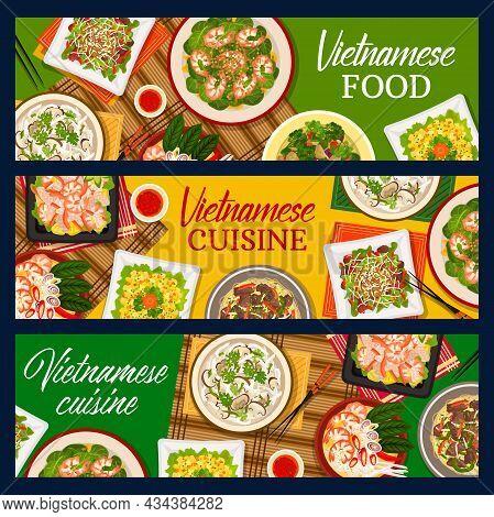 Vietnamese Food Vector Beef Noodle Soup Pho Bo, Spinach Prawn Salad And Eggplant Stew. Shrimp Salad,