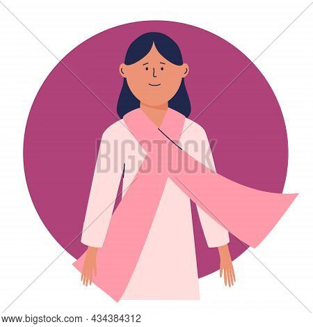 Young Woman With A Pink Scarf On Her Chest. Pink Ribbon - The Symbol Of Fight Against Breast Cancer.